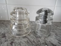 "*Vintage* Glass Insulators. Dominion 4"" x 3.5"" and Whithall Tatum 3/5"" Morinville"