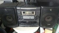 black aiwa cassette player stereo component