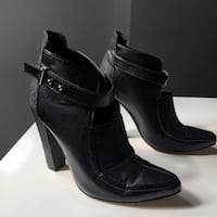 Pair of black faux leather heeled booties Pickering, L1V 1X6