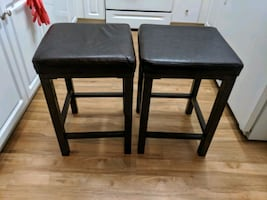 Brown leather barstools