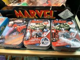Marvel Avengers Spiderman puzzles in tin container $3each