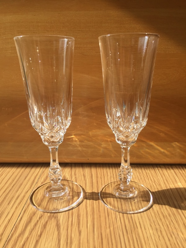 Crystal fluted champagne glasses