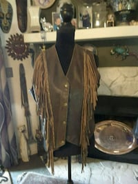 vest Rough Brown Leather with Fringe Ladson, 29456