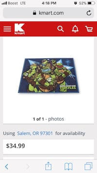 Nickelodeon ninja turtles area rug