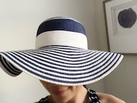 Blue and white summer hat