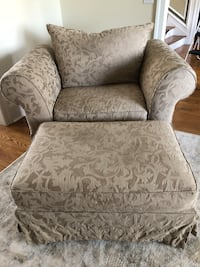 Gray and white floral sofa chair with ottoman Union Bridge, 21791