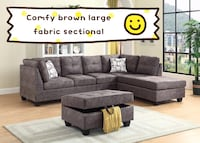 Brand new brown large fabric sectional sofa with ottoman warehouse sale 550 km