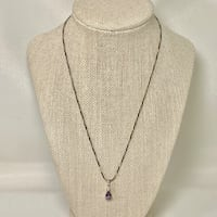 Sterling Silver Tourmaline Pendant with Sterling Rope Chain