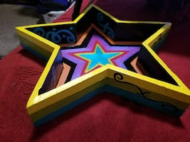Wooden Painted Star Tray