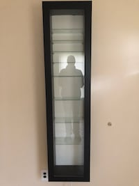 Black wooden framed glass display cabinet Brookhaven, 11778