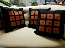 3 sets of earth tones throw pillows