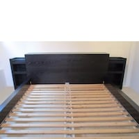 Malm Queen bed with headboard storage tables**No Matress**pas de matelas used in guest bedroom Laval, H7G 4B4