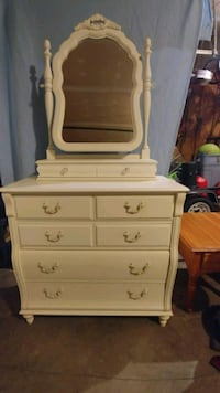 white wooden dresser with mirror Winfield, 63389