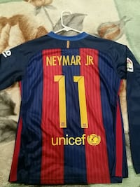red, blue, and black Unicef Neymar Jr. #11 jersey