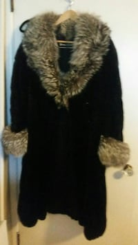 black and brown fur-line coat
