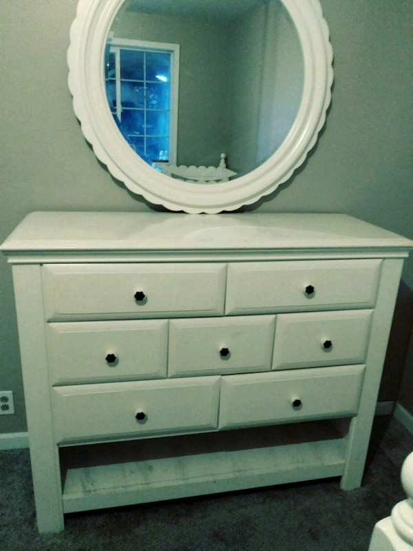 Used White Wooden Dresser With Mirror For Sale In Yakima