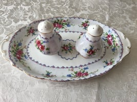 Royal Albert petit point ,salt and pepper with tray