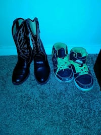 pair of black leather boots kids