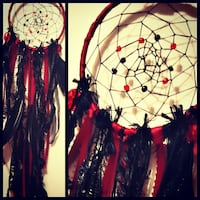 Hand-Made Red and Black Dreamcatcher