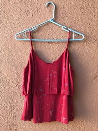 red floral spaghetti strap layered tank top