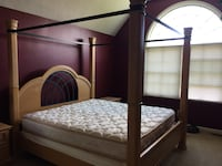 King Size Solid Wood Bed with Iron Canopy Avon Lake, 44012
