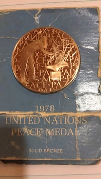 bronze. peace medal. united nations. 1978 Fort Myers, 33919