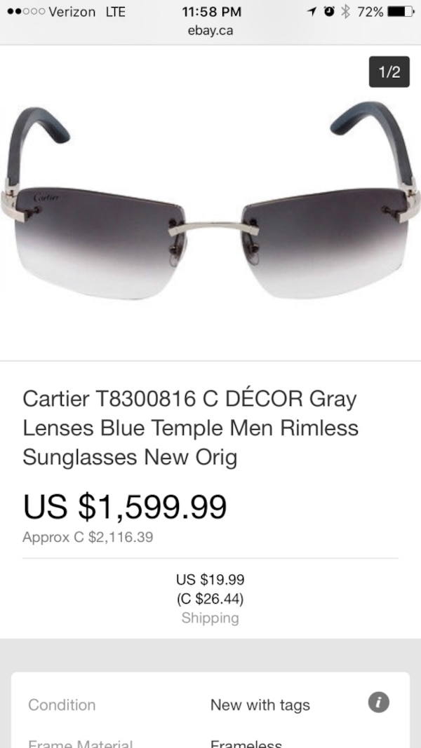 Cartier T8300816 C Decor Gray Lenses Blue Temple Men Rimless Sungles