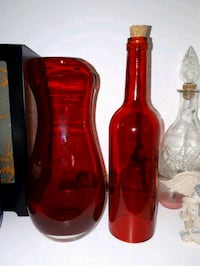 red vase and bottle Cornwall, ON, Canada, K6H