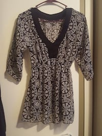 women's black and white floral half-sleeved dress
