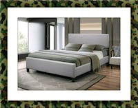 Grey platform bed free mattress&delivery all size Falls Church, 22041