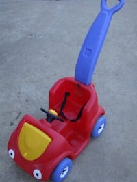 toddler's blue and red ride-on push trike