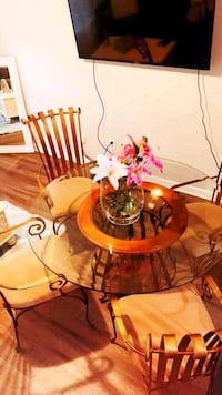 Gold/Bronze/Wrought Iron/Glass Top Dinning Table Charlotte, 28269