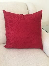 Red, machine embroidered pillow.  Coral Gables, 33134