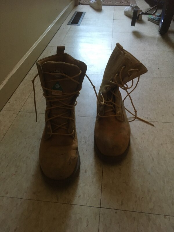 Steel toe brown leather work boots