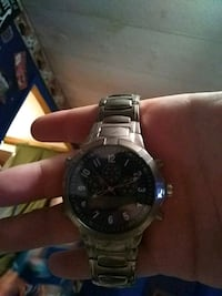 round silver chronograph watch with link bracelet Ringgold, 30736