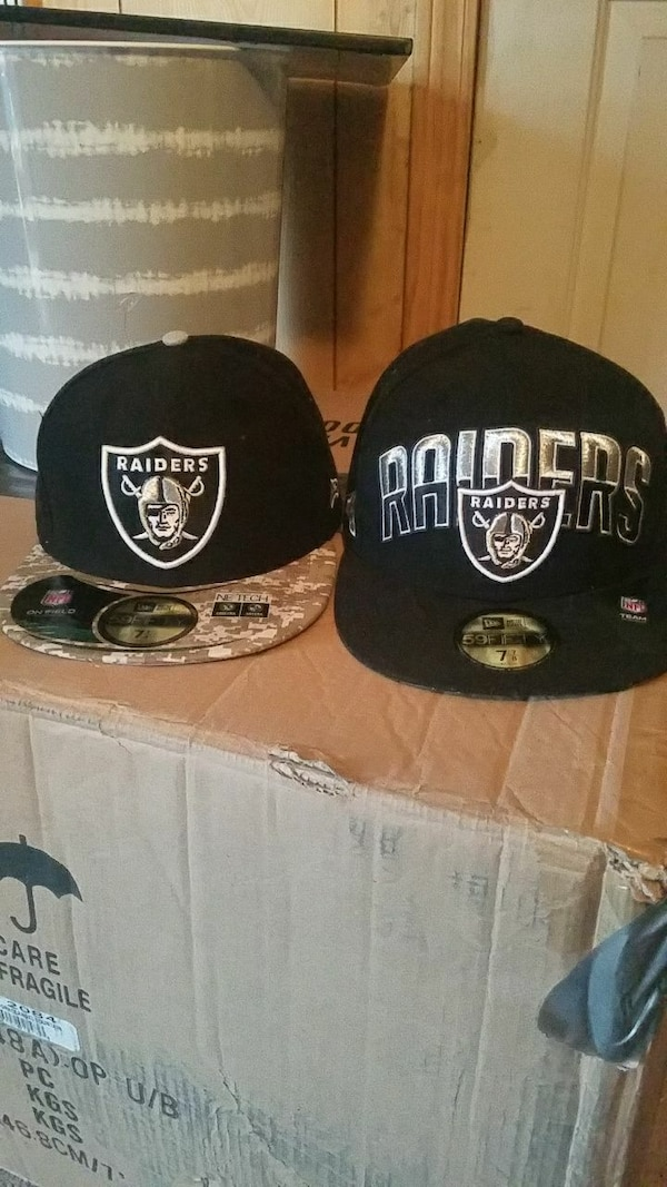 c56a0be5 Used two black Oakland Raiders New Era 59Fifty snapbacks for sale in Lenoir  - letgo