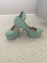 Pair of green suede peep-toe platform stilettos Calgary, T2Y 4E4