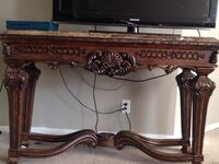 Custom hand carved granite stand/table
