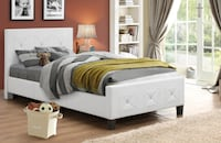 *Upholstered Bed in White TORONTO