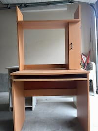 Wooden desk with keyboard drawer and shelving Port Coquitlam