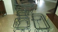4 piece living room table set all metal and glass Laredo, 78045
