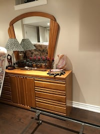 brown wooden dresser with mirror Brampton