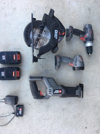 Porter Cable Cordless 18v Combo Set - circular saw sawsall,drill,light