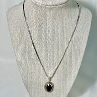 Sterling Silver & Black Onyx Pendant with Sterling Chain