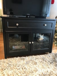 black wooden TV stand with flat screen television Chicago, 60640