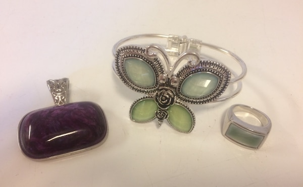 Collection of Designer Costume Silver Tone Jewelry - Purple Pendant, Two Bar Butterfly Bracelet and Ring