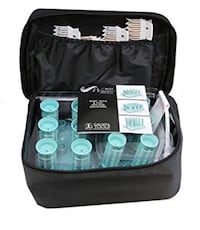 "New/Unused Callista Tools Hot Rollers Set: (12) 2"" Rollers For Short Hair/Body, and (6) 1"" Long Hair Wavers, Black Nylon Zippered Bag, Turquoise Hot Roller Base/Heating Unit, and (18) Roller Clips Washington, 20001"