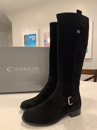 Tall Black Suede Waterproof Boots