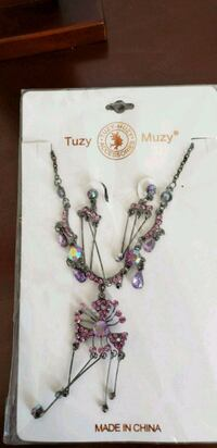 silver and pink beaded necklace Red Deer, T4R 2J4