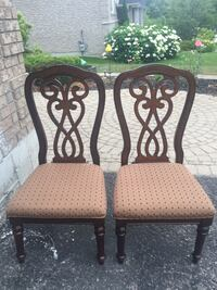 two brown wooden framed padded armless chairs Barrie, L4N 7Z5